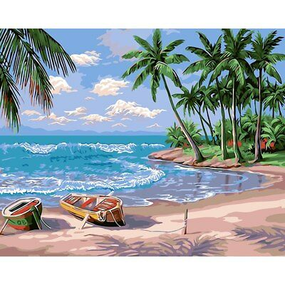 "TROPICAL BEACH ABSTRACT PAINTING PAINT BY NUMBERS CANVAS KIT 20"" x 16"" FRAMELESS"