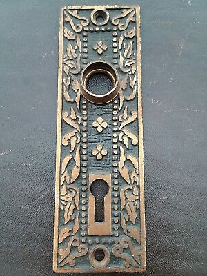 Antique Victorian Door Knob Back Plate Skeleton Key Hole Mallory Wheeler