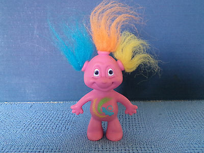 RUSS GLEEP ALIEN TROLL ~ 8 cm *14022 * PINK WITH MULTICOLOURED HAIR * VGC