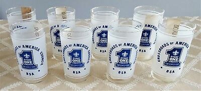 Vintage BSA Crossroads of America Council Roundup 1974 Glasses - Set of 8