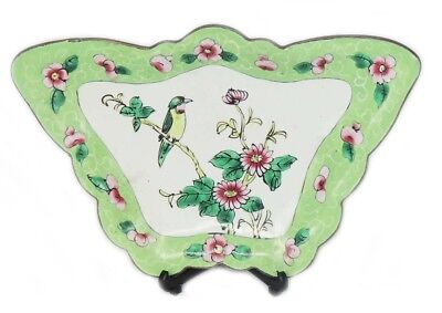 Antique Chinese Republic Period Cloisonne Floral Bird Design Butterfly Plate