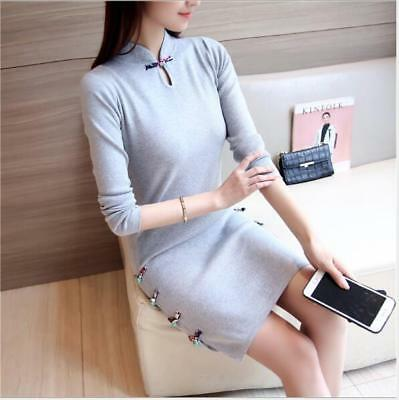 Women's Slim Fit Chinese Qipao Dress Knitted Sweater Long Sleeve Fashion NEW SZ