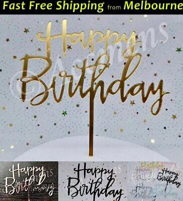 Happy Birthday Cake Topper Acrylic Party Decorations Mirror Gold Rose Gold