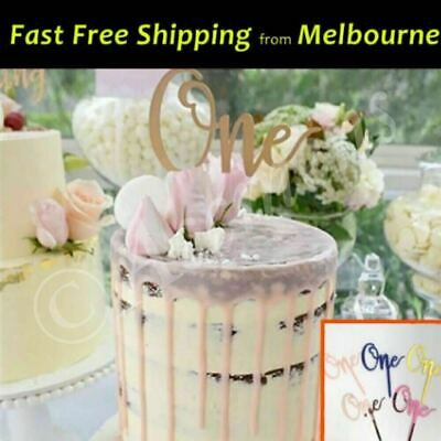 Happy Birthday One Cake Topper Acrylic Baby Party Decorations Gold Silver Black