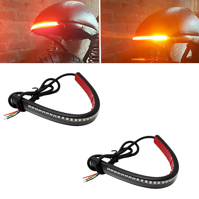 2pcs Motorcycle 48LED Flexible Strip Light Turn Signal Indicator Yellow +Red