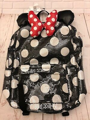 disney parks minnie mouse polka dots sequined red backpack book bag