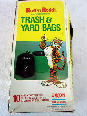 Vintage Exxon Chemical Ruff 'n Reddi Tiger garbage trash & yard bags box