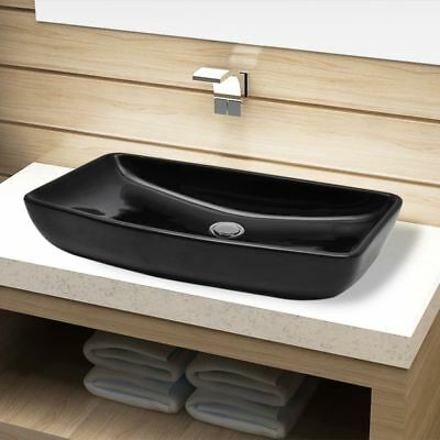 Ceramic Bathroom Sink Vessel Basin Rectangular Kitchen Washroom Powder Room