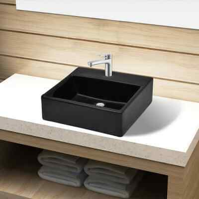 Ceramic Bathroom Sink Basin with Faucet Hole Black Square Washroom Powder Room