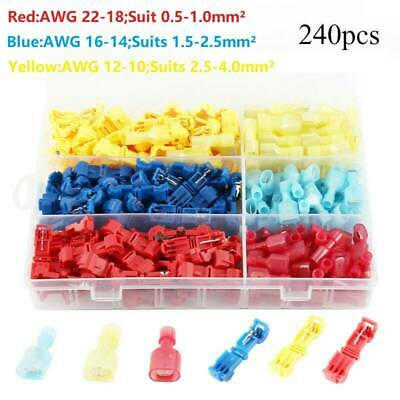 240X T-Tap/Male Female Insulated Wire Quick Splice Terminal Connectors Kit Snap
