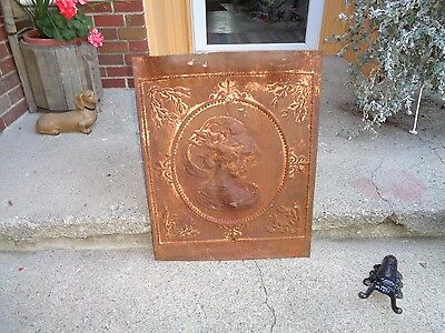 "Antique Fire Place Insert ""flowing Hair Goddess/woman"" Thin Metal Material Good"