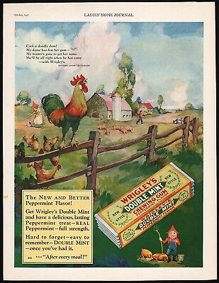 Vintage magazine ad WRIGLEYS DOUBLE MINT GUM 1927 kids with farm rooster n-mint