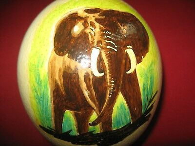 """HAND PAINTED  Large ~ 6"""" African OSTRICH EGG Elephant With Base"""