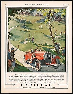 Vintage magazine ad CADILLAC General Motors 1928 red automobile pictured n-mint