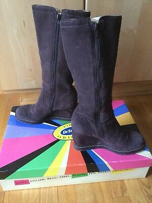 The Original Dr. Scholl's CREST Womens 7M Suede Tall Wedge Zip-Up Boots Dk Brown