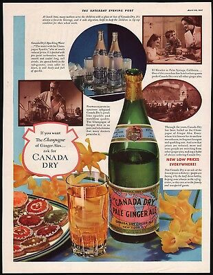 Vintage magazine ad CANADA DRY PALE GINGER ALE bottle pictured 1937 n-mint cond