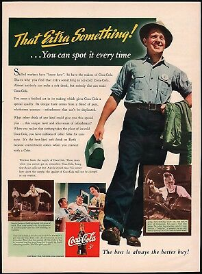 Vintage magazine ad COCA COLA from 1942 worker pictured in n-mint condition