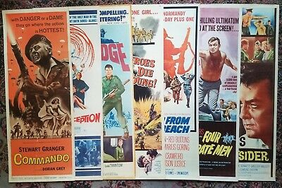 Lot 1960's Insert Posters~7 War Movies~Commando~Heroes Die Young~The Outsider