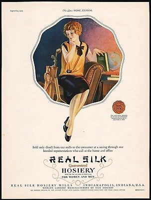 Vintage magazine ad REAL SILK HOSIERY Indianapolis 1925 Roy Best artwork n-mint
