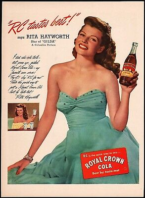 Vintage magazine ad ROYAL CROWN COLA from 1946 picturing Rita Hayworth n-mint