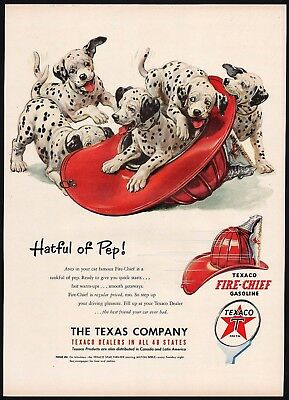 Vintage magazine ad TEXACO FIRE CHIEF Gasoline 1951 Hatful of Pep dalmatians pic
