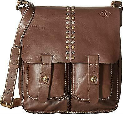 Nwt Patricia Nash Armeno Messenger Brown Leather Crossbody Studded Flap  ~$199