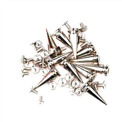 10/30/50Pc Silver Spots Cone Screw Metal Studs Leather Craft Rivet Bullet Spikes