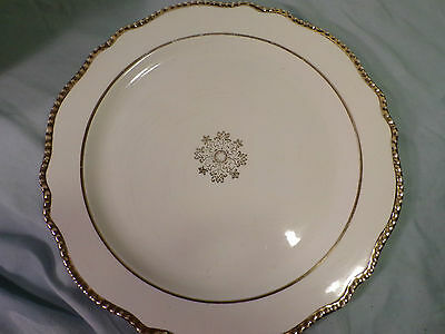 Vintage Antique Atlas China Off White Gold Round Platter Cake Plate USA