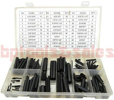 200pc Roll Pin Assortment Set Steel Split Spring Dowel Tension Fasteners Snap