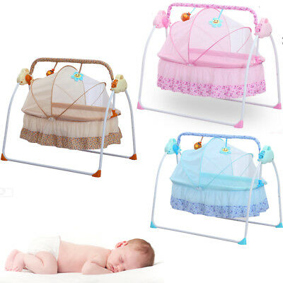 Auto Baby Swing Electric Crib Cradle Infant Rocker Bed Baby Cradle + Mat +Music