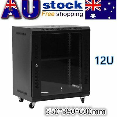 12U  Network Data Wall Mount Server Cabinet Rack Lock with Cooling Fan