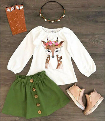 AU Toddler Baby Girl Kids Xmas Deer T-shirt Tops+Skirt Outfit Dress Clothes Sets