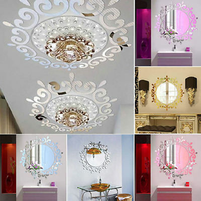 3D Feather Mirror Wall Sticker Room Decal Mural Art DIY Home Decoration DD