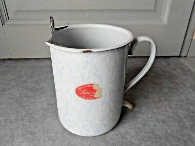 Old French White Enamel BLUE VEIN Pot  iRRIGATOR DOUCHE  marks LUC email