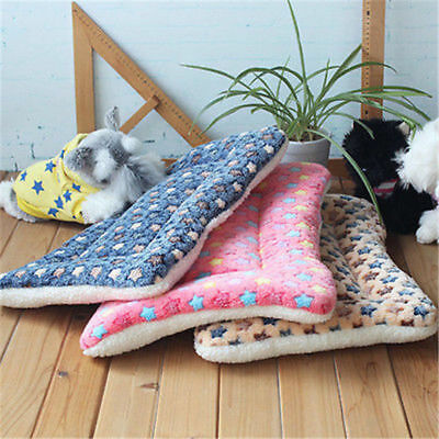 Warm Pet Dog Puppy Cat Blanket Mat Coral Fleece Soft Bed Cushion Kennel Pad UK