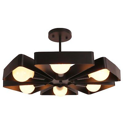 UNITARY Brand Black Vintage Barn Metal Floral Semi Flush Mount Ceiling Light