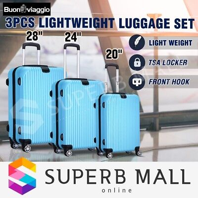 3x LightWeigh Luggage Expandable Spinner Suitcase Set Travel Trolley-Wathet Blue