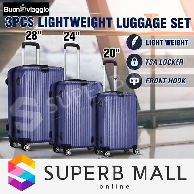 3x Lightweight Expandable Spinner Luggage Suitcase Set Travel Trolley- Dark Blue