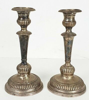 Couple Of Silver Candleshakes. Contrasts In The Base. Xix Century