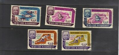 South Arabia Qu'aiti State In Hadhramaut Collection 5 Different Used Olympics +