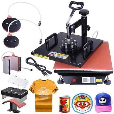 5in1 15x15 Heat Press Transfer Machine Digital Sublimation T-Shirt Mug Hat