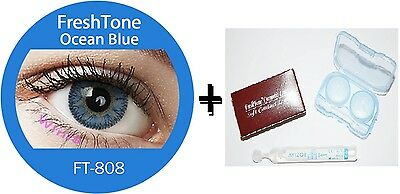 Contact Lenses Colored  FRESHTONE® Ocean Blue + Case + AVIZOR solution 10 ML
