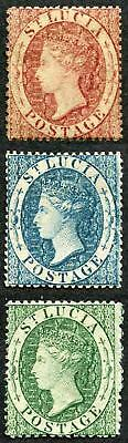 St Lucia SG1/3 1860 QV Set of Three Wmk Small Star Perf 14 to 16 M/M