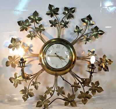 Vintage United Clock Co NY Wall Clock w/ brass Leaves & 2 Lights Model #920 1950