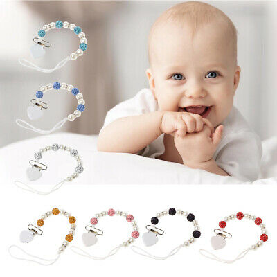 Handmade Baby Pacifier Chain Chupeta Nipples Dummy Clips Bling Crystal Princess