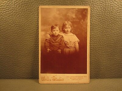 Victorian Antique Cabinet Card Photo Brother and Sister Children Siblings Kids