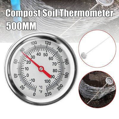 20 Inch Compost Soil Thermometer Premium Stainless Steel Metal Probe Detector NS