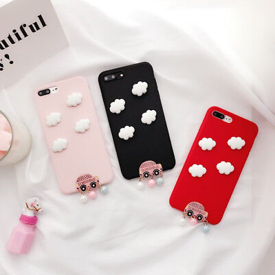 Pink 3D Cloud Silicone Phone Case Cover For iPhone X 8 7 HUAWEI VIVO OPPO R15 R9