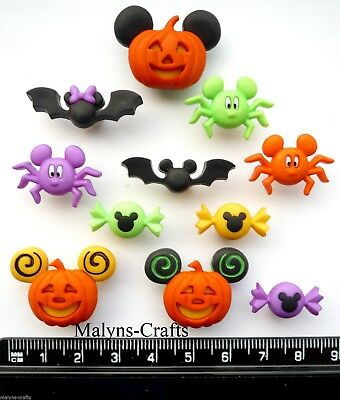 Disney MICKEY MINNIE HALLOWEEN Craft Buttons 1ST CLASS POST Mouse Spiders Bat