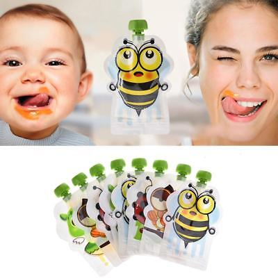 8/16pcs Reusable Food Food Pouches Baby Feeding Squeeze Storage Sealed Bags AU!